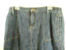 VF Jeanswear  Denim Modest Skirt 16P 16 Petite Blue Jean Elastic Waist Back Slit