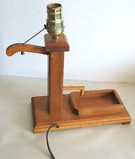 """Vintage Wood Well Pump Electric Table Lamp hand made works 11.5"""" tall FREE SH"""