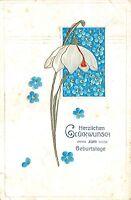 BG3974 geburtstag birthday flower lilly embossed germany  greetings