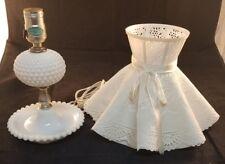 milk glass hobnail lamp underwriters laboratories inc issue 19461 white shade