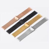 Uhrenarmband Watch Strap Edelstahl Uhrenband Armband Faltschließe 12-24mm NEU_