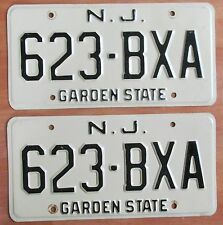 New Jersey 1974 License Plate PAIR # 623-BXA