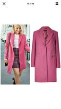 Marks and Spencer Wool Blend City Coat Single Breasted Coat Size 16 Pink