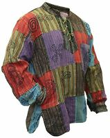 Mens Stonewashed Blocked Hippie Shirt Full Sleeve Festival Collarless Shirt