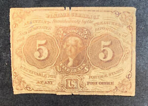 US First Issue 5 Cent Fractional Currency  Postage Currency