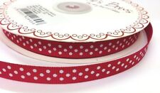 5m Bertie's Bows Red with White Polka Dot 9mm Grosgrain Ribbon, Craft, Gift Wrap