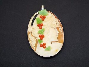 "Master Hand carved ""Comesso"" Carnelian Conch shell pendant set in silver"