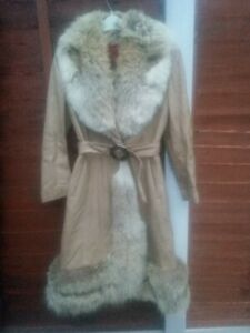 """Vintage1970""""s Light Tan OLYMPIC Leather  Belted Coat UK 10/12"""