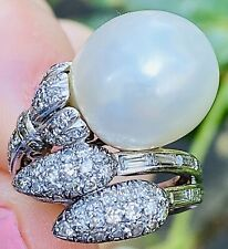 Art Deco Estate Platinum 1.22ct Diamond Baguette Cluster South Seas Pearl Ring