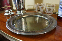 Vintage Silver Tray, Round Tarnished Wm. Rogers Farmhouse Tray, Cocktail Tray