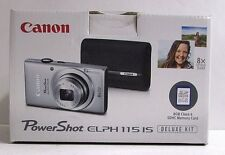 Canon PowerShot ELPH 115 IS Digital Camera Deluxe Kit Silver 16MP NEW
