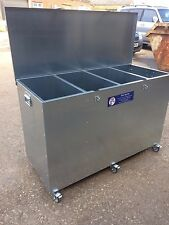 Ani-Mate 4 Comp MOBILE Horse Animal Feed Storage Bin Galvanised 425litres 240kgs