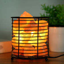 Himalayan Salt Lamp Pink Crystal Ionizer Metal Basket Salt & UK plug