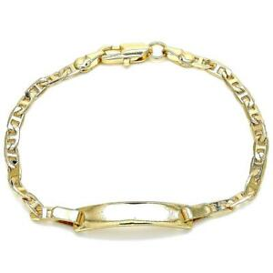 """14K GOLD PLATED 8"""" ID BRACELET WITH 3.5 MM CUBAN LINK AND LOBSTER CLASP M477"""