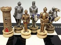 MEDIEVAL TIMES CRUSADES Gold & Silver Armored Knight Chess Men Set - NO BOARD