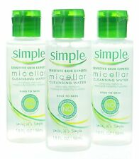 3X Simple Micellar Cleansing Water Makeup Remover Travel Size 1.9 fl /56 ml Each