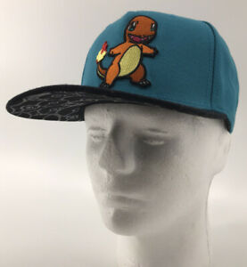 Pokémon Charmander Strap Back Hat Cap Adult Size Black Blue 2016 Nintendo