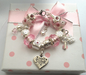 Personalised girls ladies sparkly extension charm bracelet n gift box FAST DELIV