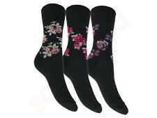 Ladies Flexi-Top Dark Rose Non Elastic Diabetic Everyday Comfort Cotton Socks
