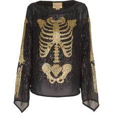 Wildfox White Label Supermodel Out All Night Sequin Skeleton Sheer Top!  XS