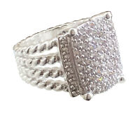 925 Sterling Silver Wheaton Ring 16 x 12mm with 1.25 Pavé Diamonds Size 7
