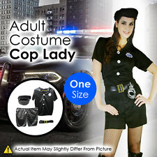 Adult Costume Cop Lady Shirt Shorts Hat Belt One Size Fun Party Accessories