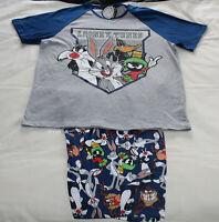Looney Tunes Mens Grey Navy Blue Printed 2 Piece Pyjama Set Size L New