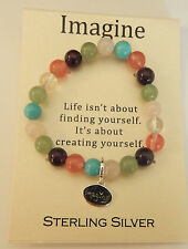 Stretch Bracelet- multi color round stones-sterling silver charms- Imagine