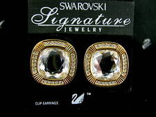 SIGNED SWAROVSKI CLIP EARRINGS NEW RETIRED !!