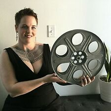 "14.5"" metal 35mm film movie reel Theater room wall decoration man cave cine Vtg"