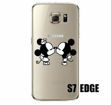For Samsung Galaxy S7 Edge -Soft Ultra Thin Rubber Clear Case Mickey Minnie Kiss