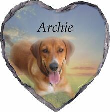Pet Dog Photo Memorial SLATE - HEART - Plaque - Personalised YOUR Picture