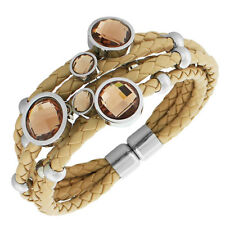Fashion Brown PU Leather Silver-Tone CZ Love Heart Multi-Row Layer Bracelet