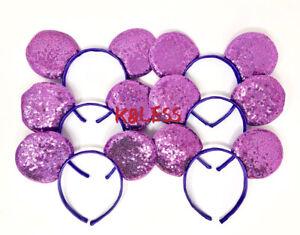 24pcs Purple Mickey Mouse Ears Sequin Headband Birthday Favors Minnie