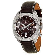 Bulova Adventurer Chronograph Black Dial Brown Leather Men's Watch 96B161 SD NEW