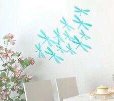 12 LIBELLULES 3D TURQUOISE autocollants PVC Déco Mur/SDB/Porte/Chambre