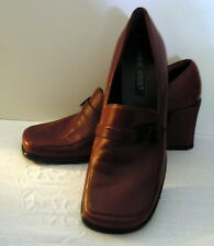 Nine West Burgundy leather Loafers Heels Shoes Block heel size 6M  L449