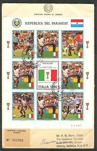 PARAGUAY 1989, WORLD SOCCER CUP ITALY, Scott 2310 SHEET ON FDC
