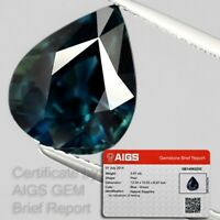 BIG RARE! 5.97ct VS Pear Natural Unheated Blue Green Sapphire *AIGS Certified