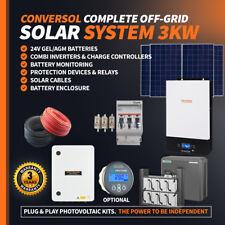 3kVA Solar Off Grid System. AGM batteries, 24V/230V inverter. Solar Panels 1860W