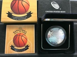 2020-P Basketball Hall of Fame SILVER Proof Silver Dollar W/COA