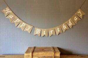 HAPPY BIRTHDAY Hessian Bunting Banner. Birthday party Bunting Vintage Burlap