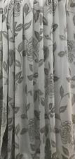Stores Gardine Stoff Vorhang Blumen Blätter weiß grau transparent Meterware
