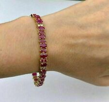 14Ct Oval Red Ruby & Diamond Bracelet Vintage Tennis Line 14K Yellow Gold Over