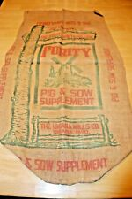 PURITY PIG & SOW - Vintage Burlap Farm Feed Gunny Sack Bag Empty - URBANA OHIO
