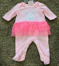NWT Girls White Pink Stripe Long Sleeve Bunny Romper Newborn