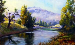 Original oil painting Hunter Valley NSW 30 x 45 cm Oil paint on board by Vidal
