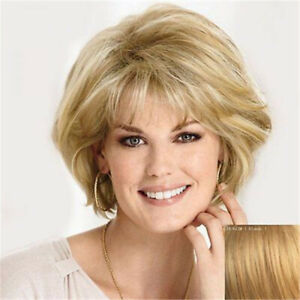 Women's Wig Short Blonde Fluffy Straight Wig American Hot Style Wig+Wig Cap