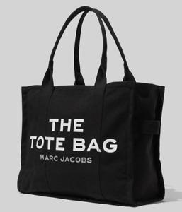 Marc Jacobs The Traveler Tote Bag Cotton Canvas New Black Large Authentic
