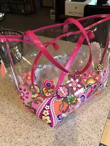 Vera Bradley Pink Swirls  Clearly Colorful Beach Tote Retired NWT. Tote Bag.